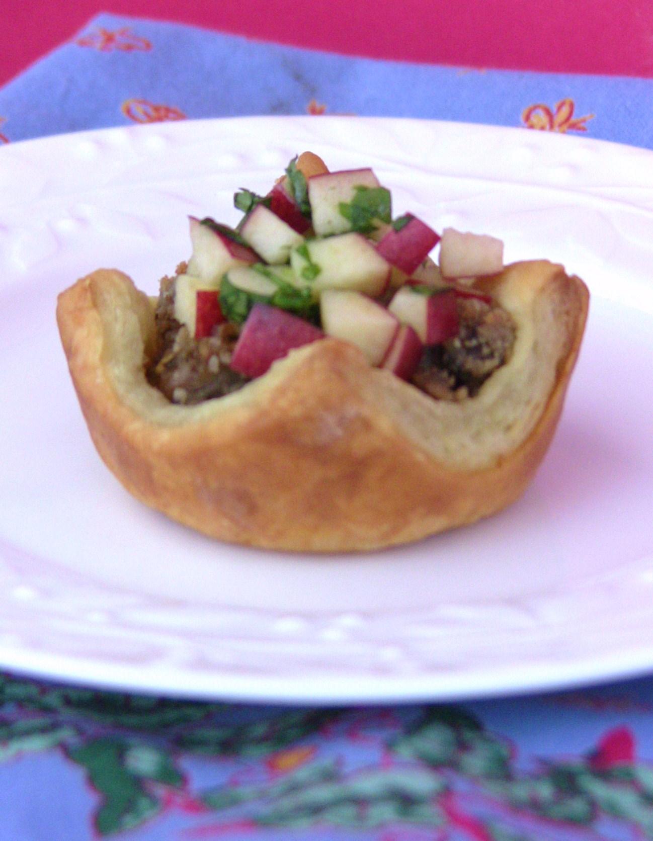 Petite Tourtière Tarts with Fresh Apple Chutney