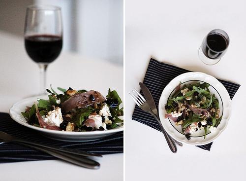 Ricotta, Prosciutto & Walnut Salad with Cranberry Balsamic Dressing