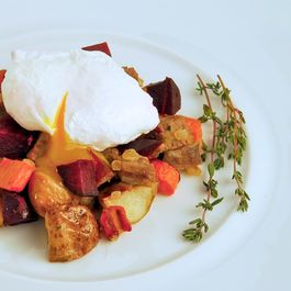 Corned Beef and Root Vegetable Hash with Poached Eggs