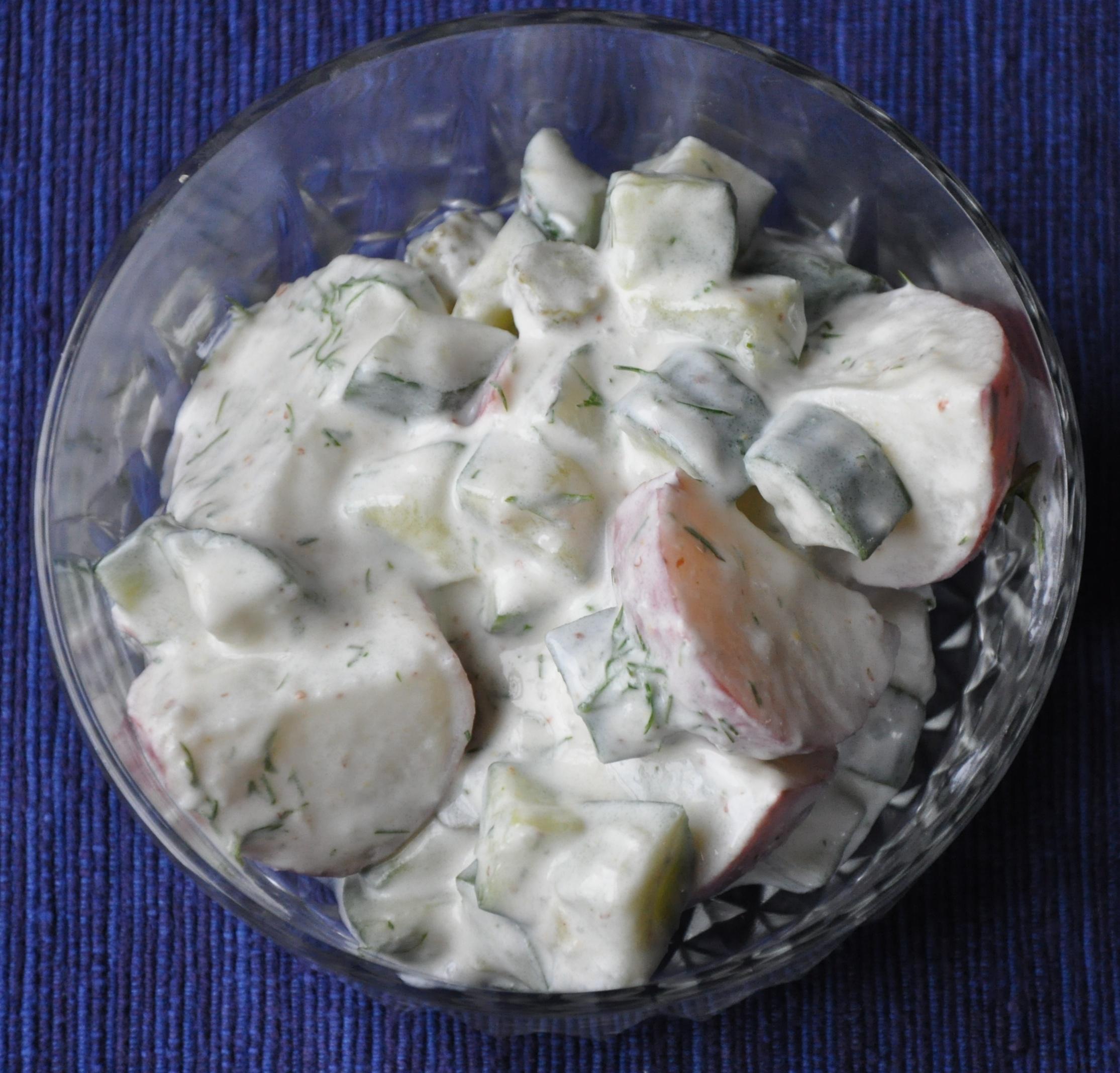 Potato Salad with Sauerkraut, Buttermilk and Horseradish