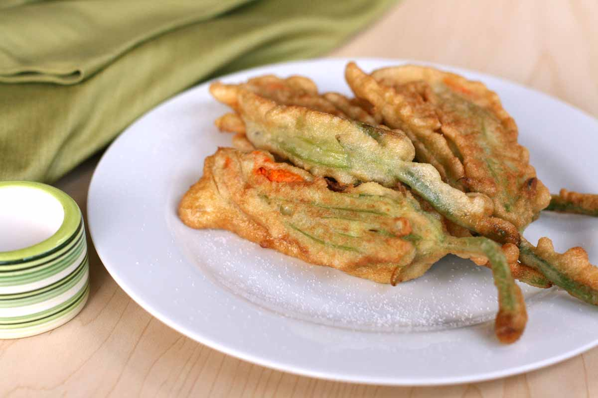 Pan-fried zucchini flowers with ricotta and fresh herbs