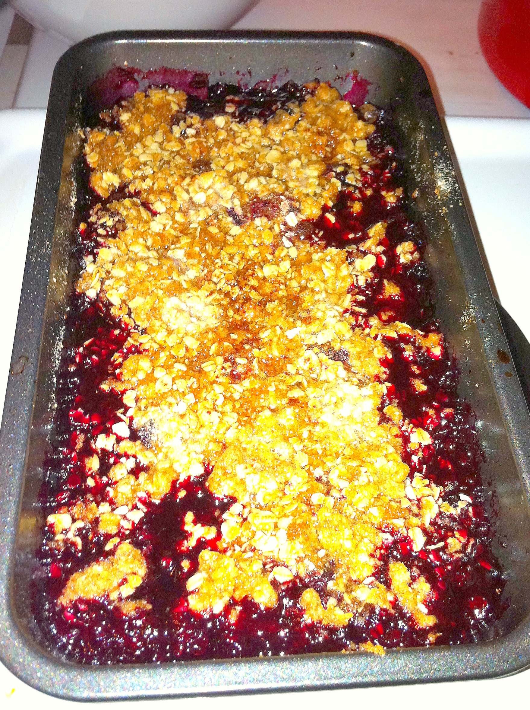 black raspberry, wild blueberry and marion blackberry crisp