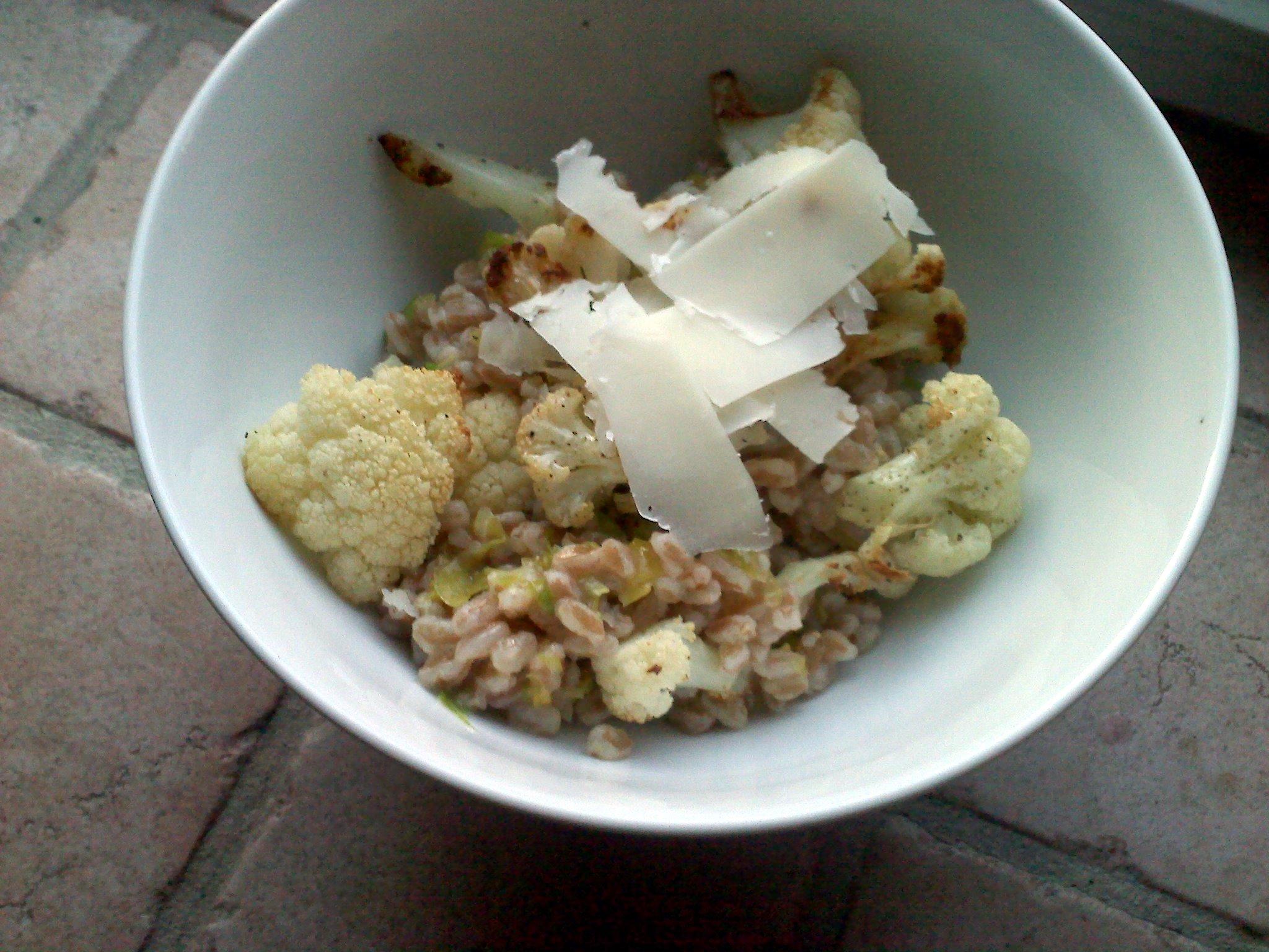 Roasted Cauliflower With Truffled Farro (Emmer Wheat)