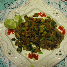Sweet Brown Rice Cakes with Adzuki Beans and Some Like it Hot Avocado Salsa