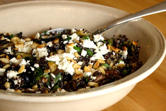 Black Quinoa Salad with Grilled Vegetables, Basil, Feta and Pine Nuts ...