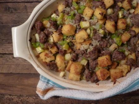 Polenta, Sausage, Apple Stuffing