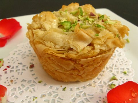 Heavenly Kanafe.... A Syrian Dessert made with Ricotta & Shredded Filo Dough