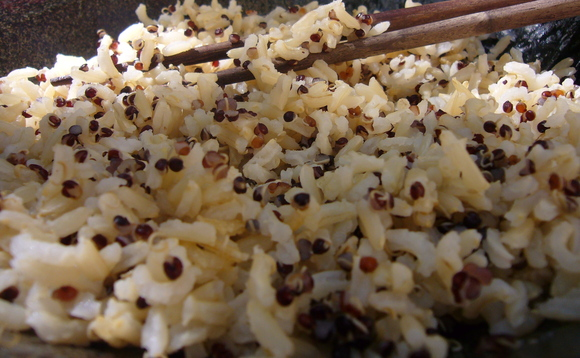 Perfect long grain brown rice with black or red quinoa