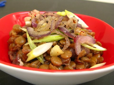Sephardic Megedarra with Garlicky Brown Rice Pilaf