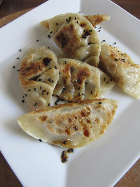 Spring Gyoza with Shiitake, Chives, Radish and Roasted Garlic
