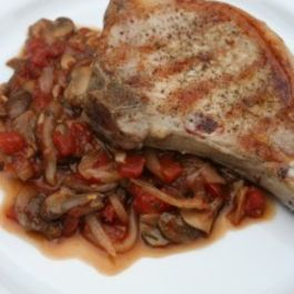 Grilled Pork Chops with Chunky Mushroom-Tomato Sauce