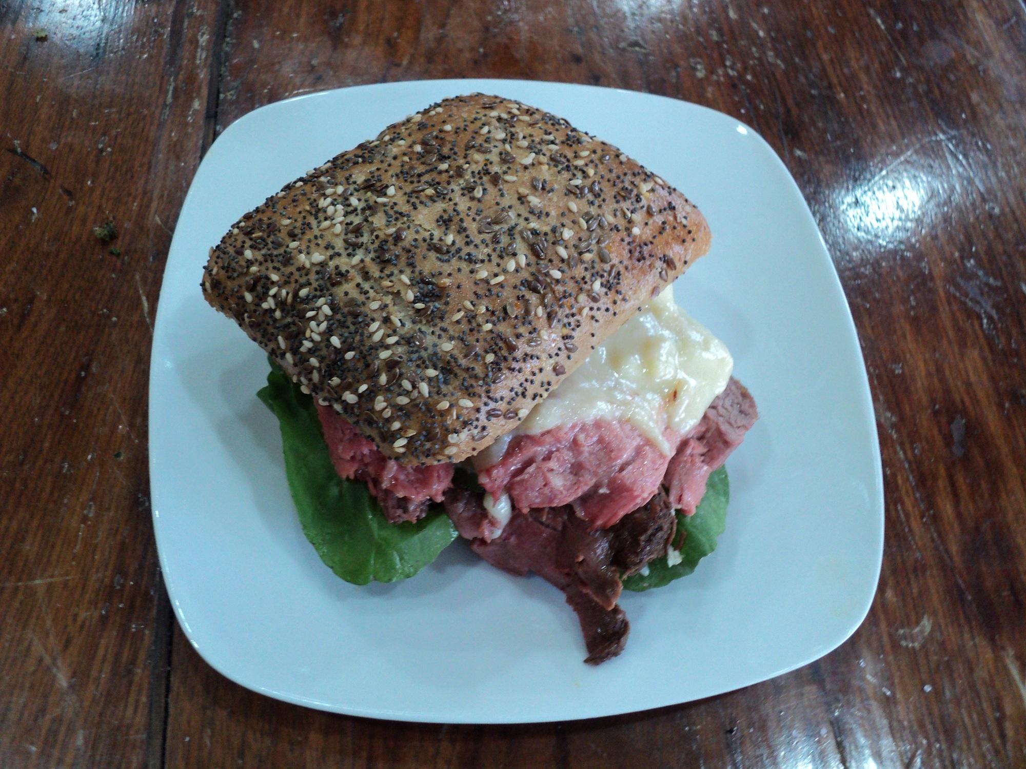 Rare Roast Beef Sandwich with Horseradish Fontina Fondue