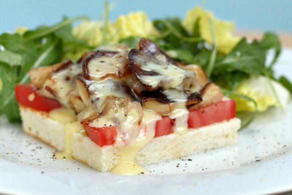 Shiitake Mushroom Tartines with Cheddar Fondue