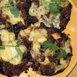 Portobello Mushrooms stuffed with garlic, shallots and chorizo
