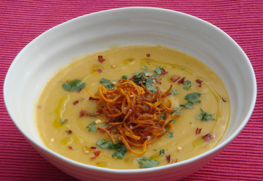 Sweet Potato, Orange and Ginger Cream Soup with Crispy Sweet Potatoes ...