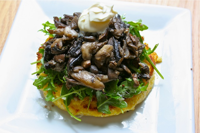 Warm Mushroom Salad with Crispy Polenta