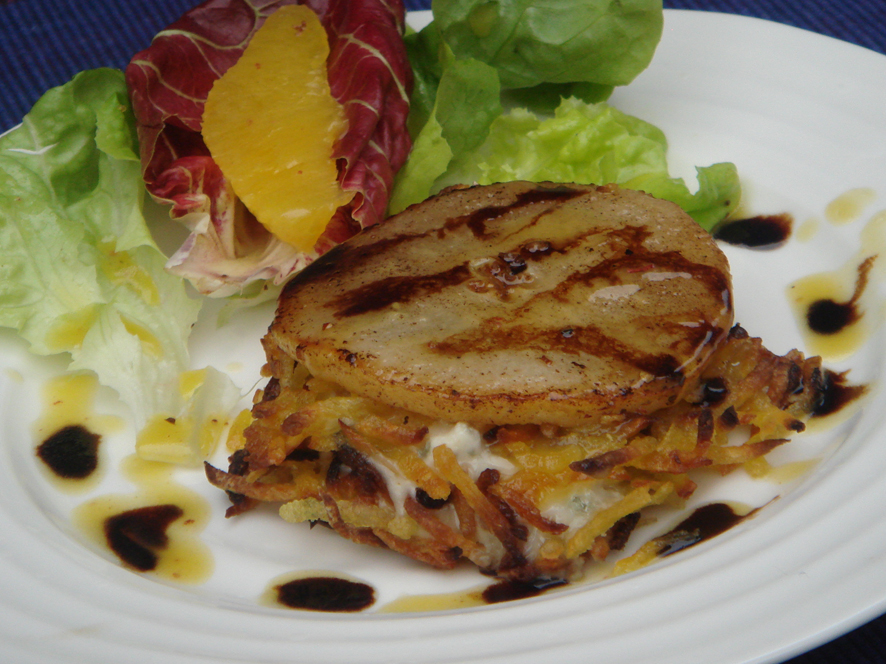Warm Sweet Potato Rostis with Gorgonzola and Pear