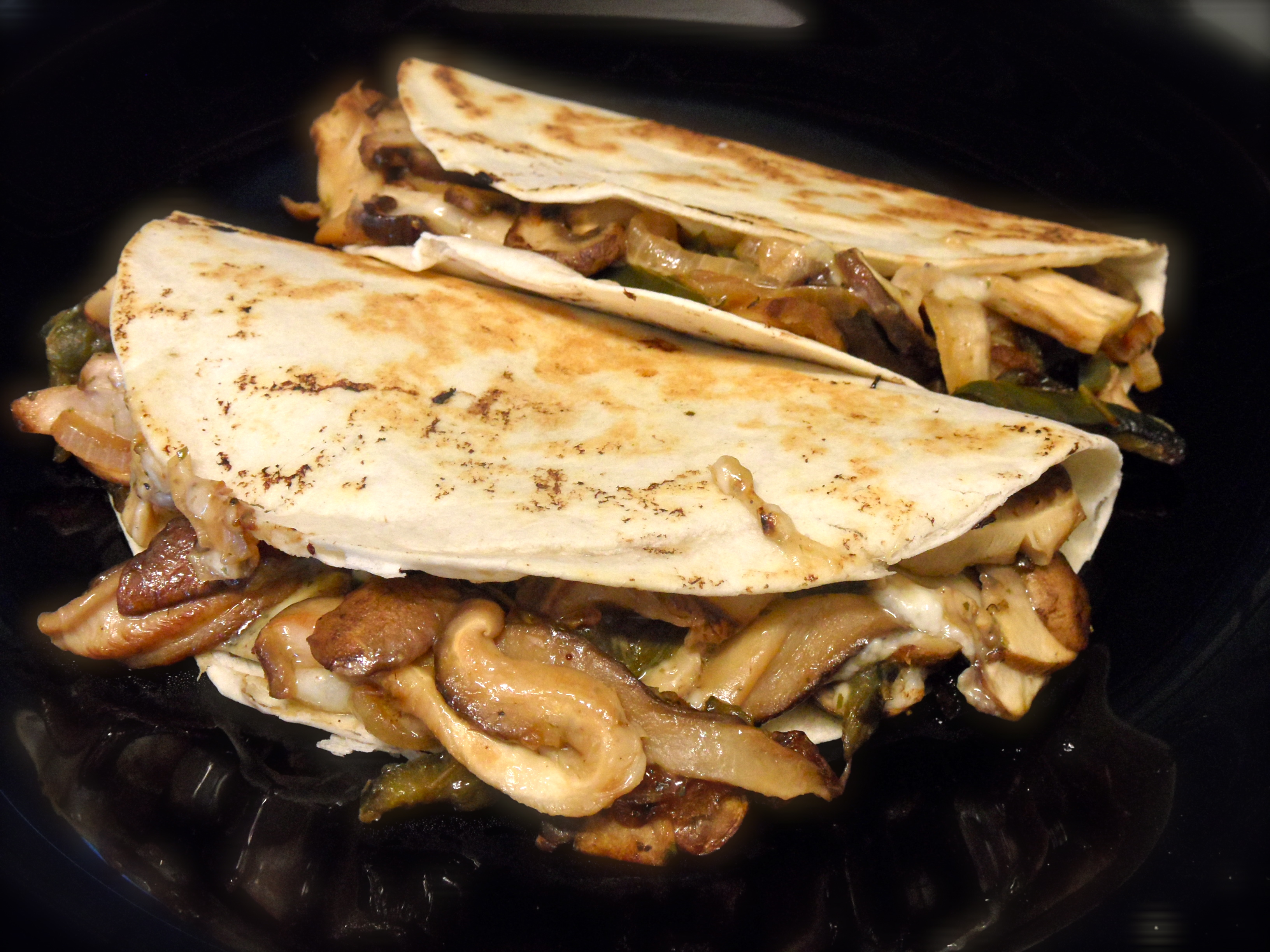 Mushrooms, Poblano and Manchego Quesadillas