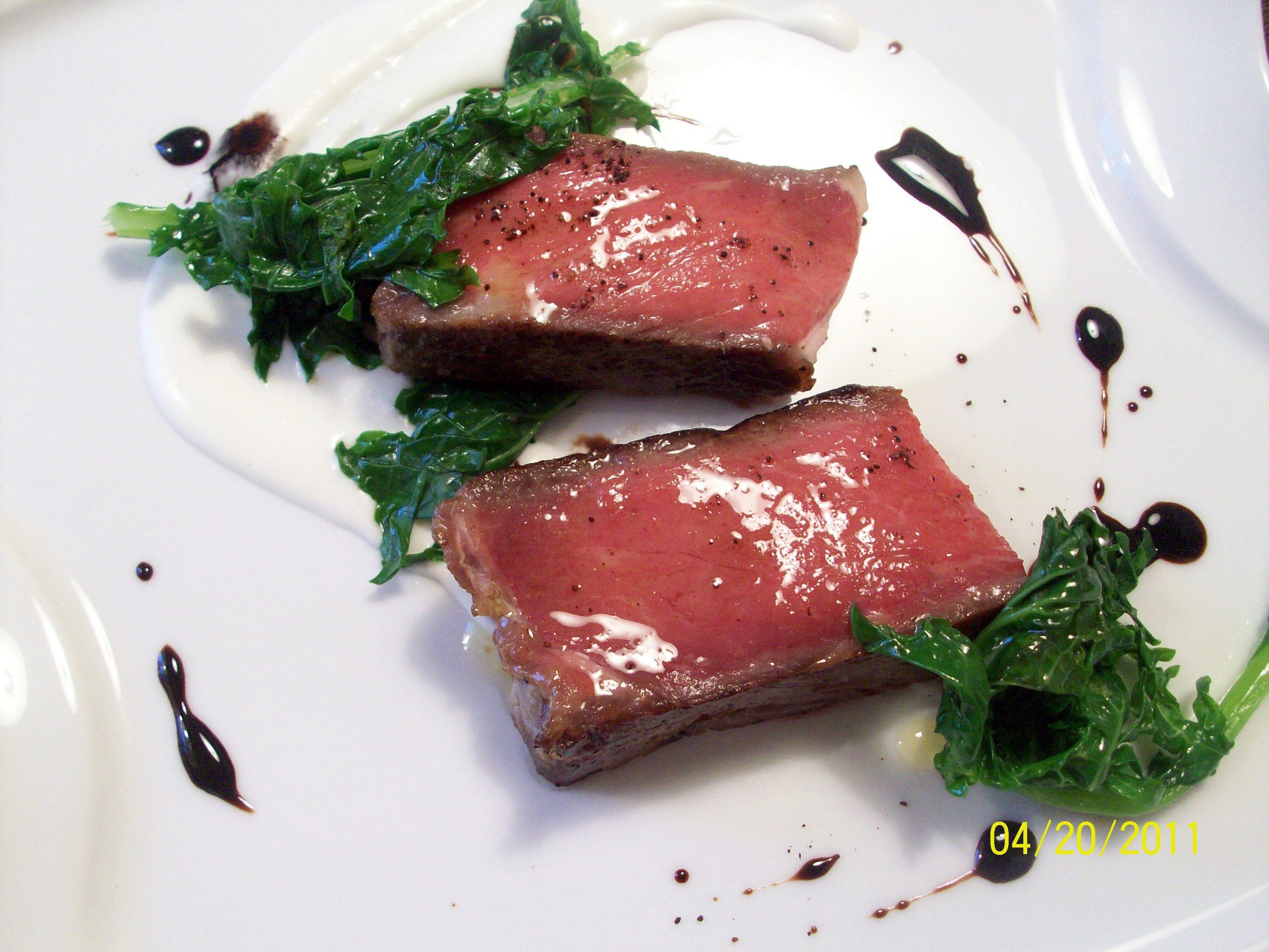Coffee Confit of Ribeye, Parsnip Puree, Kale & Balsamic-Coffee Sauce