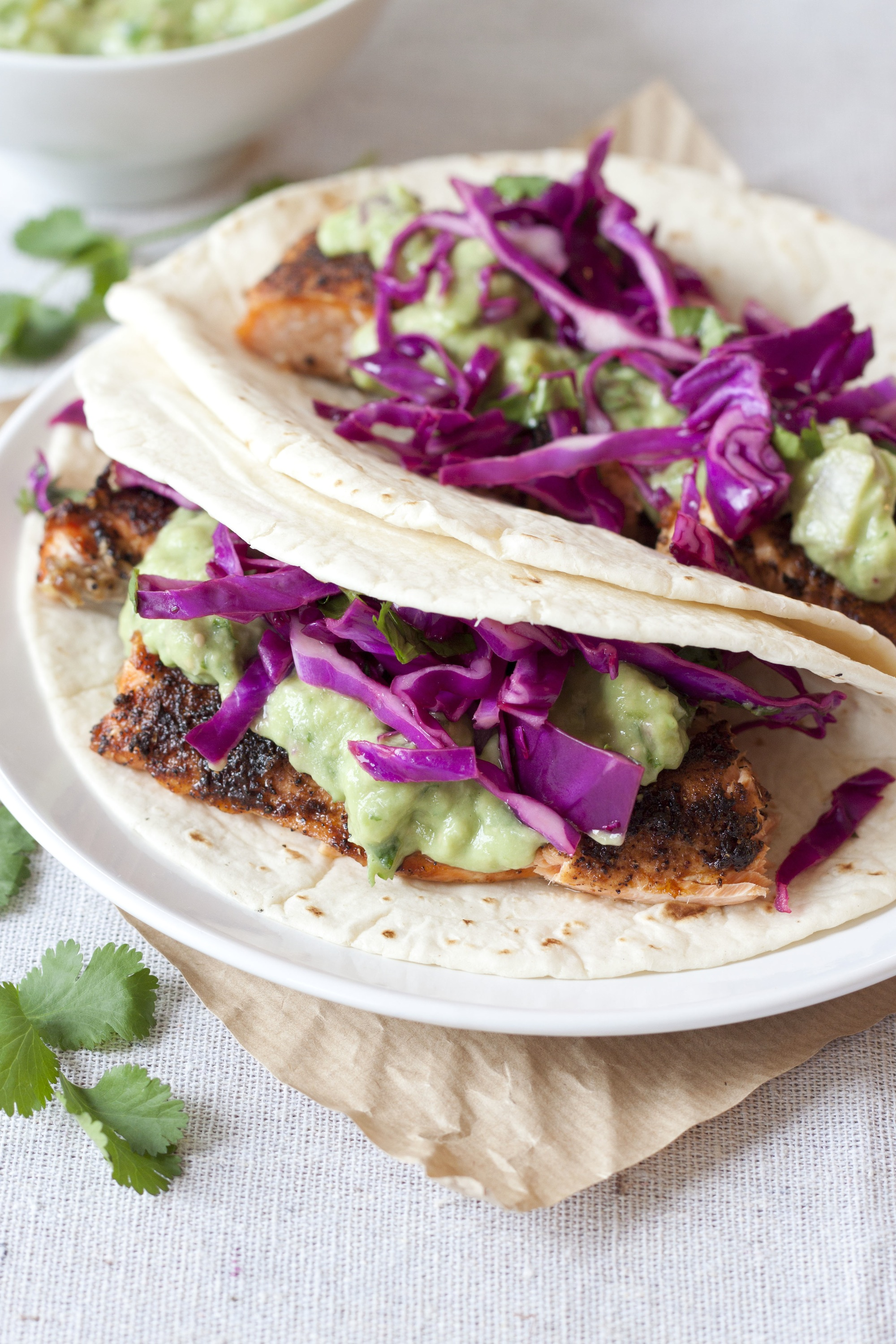 Coffee and spice rubbed salmon tacos