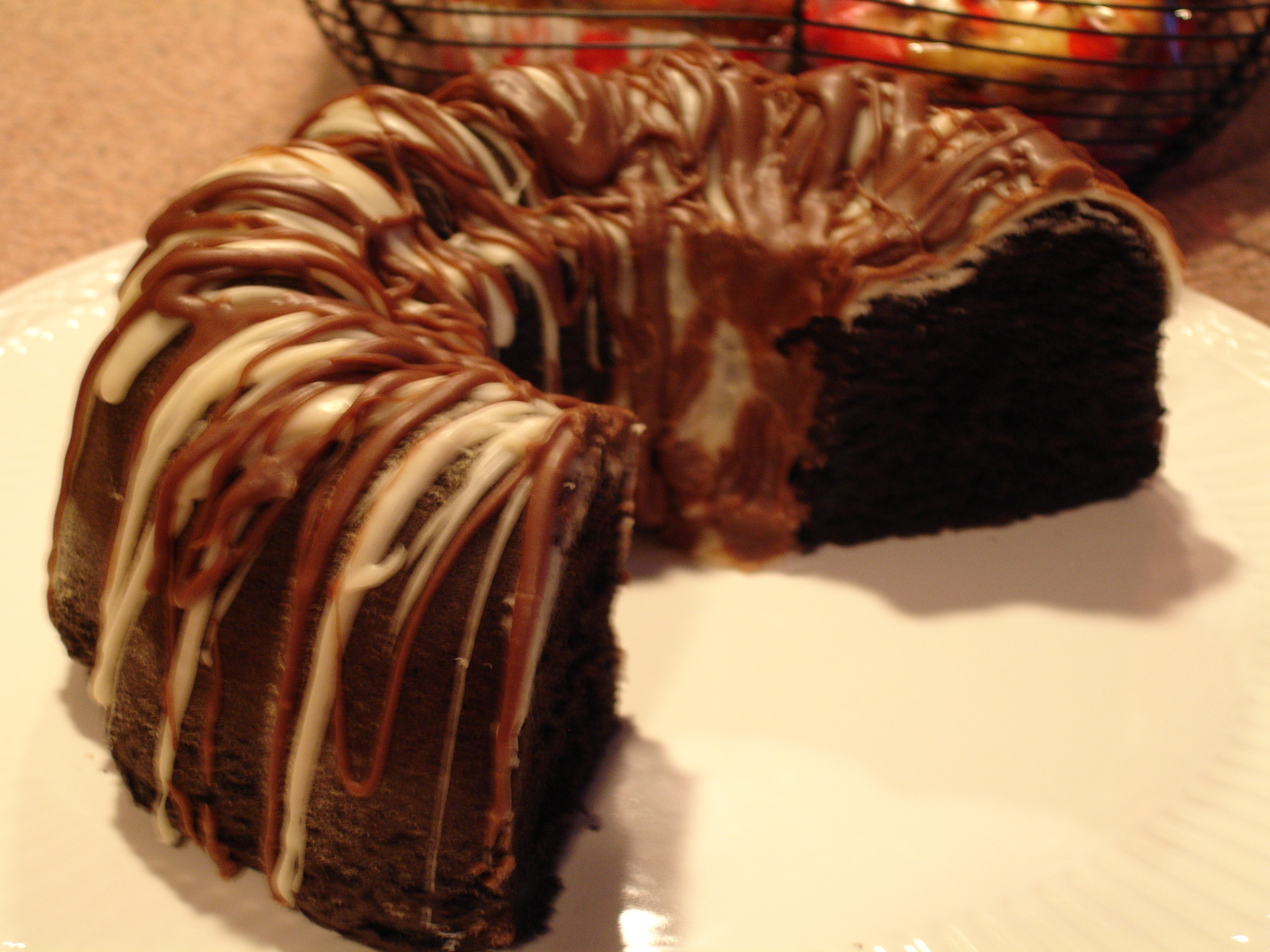Chocolate Kahlua BLACK OUT Bundt Cake with Vanilla & Coffee Drizzle