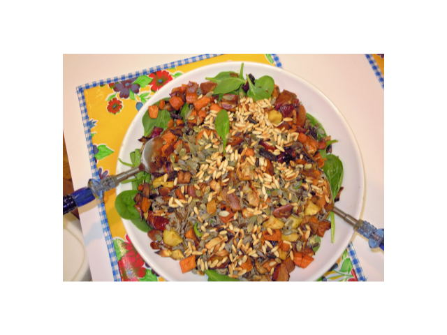 Warm Wild rice   root vegetable salad   with maple- sage vinaigrette