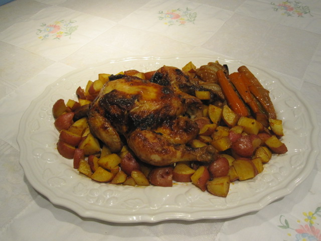Friday Night Garlicky Roast Chicken and Potatoes