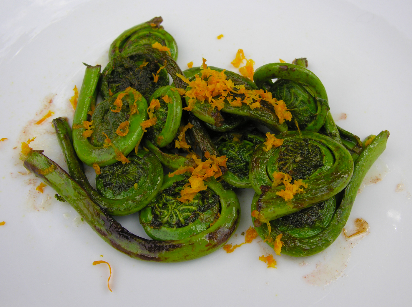 Sauteed fiddlehead ferns