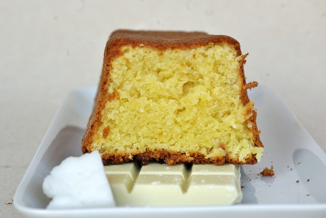 white chocolate and fresh grated coconut cake