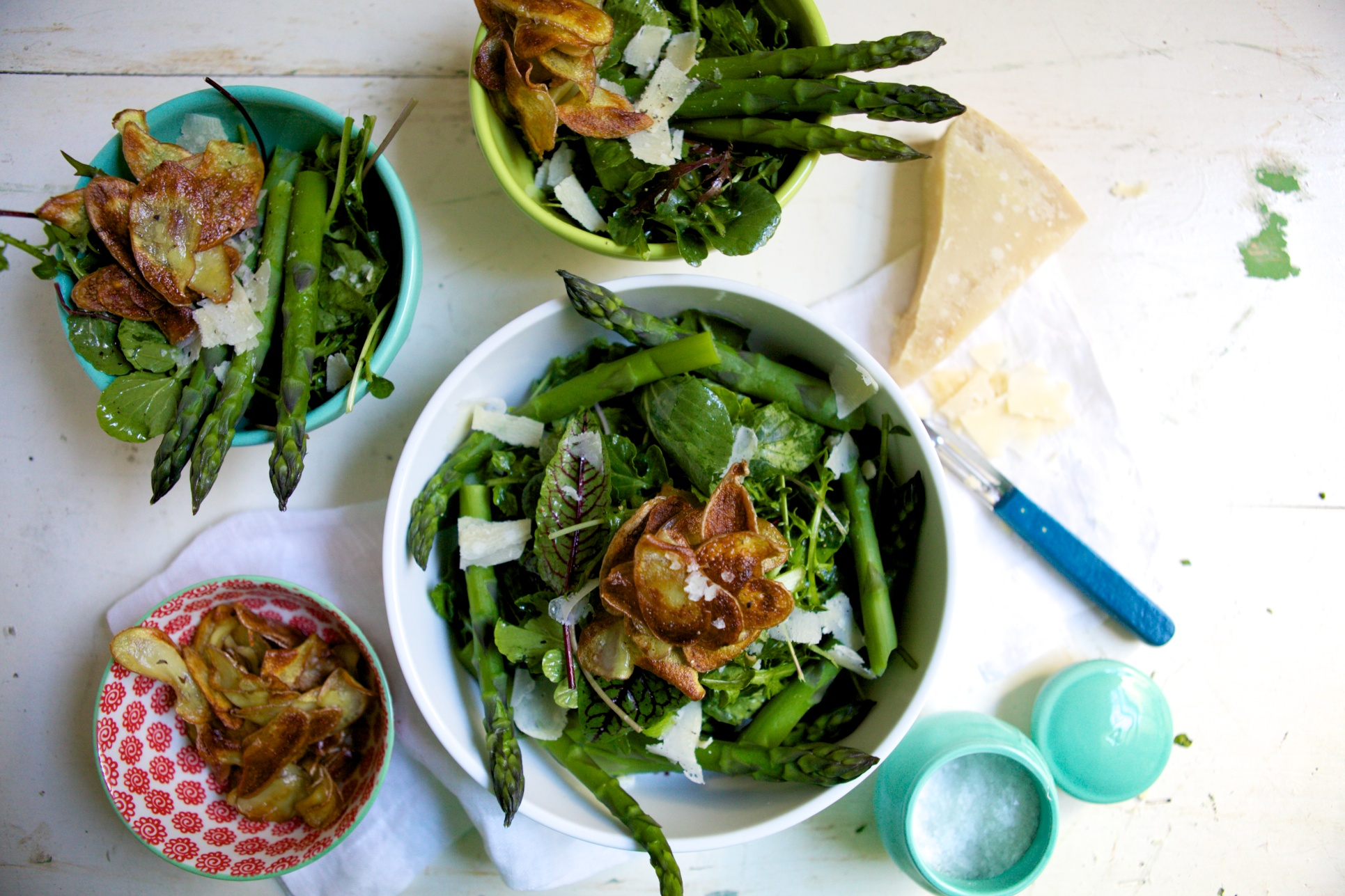 Spring Greens with Crispy Potatoes, Herbs & Asparagus