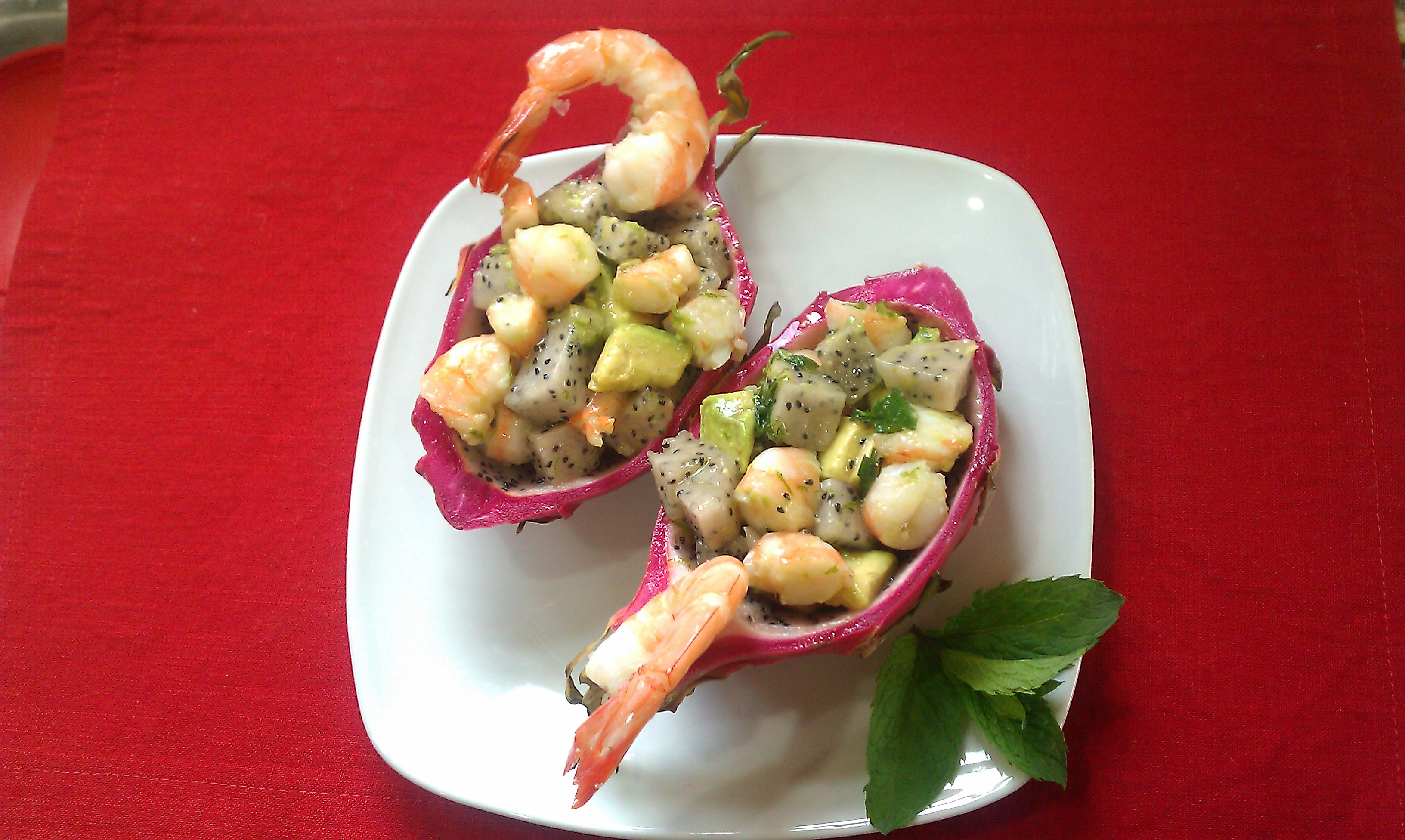 Dragonfruit Shrimp Salad Boats