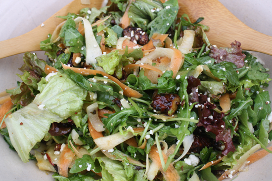 Green Salad with Shaved Parsnip, Carrot, Apple and Honey Roasted Walnuts