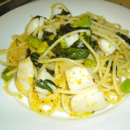 Fava Beans, Ramps, Dandelions and Scallops over Pasta alla Chitarra (Saturday Night's Dinner)