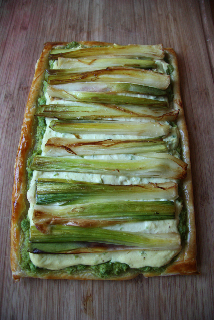 Leek Tart with Ricotta and Pea Puree