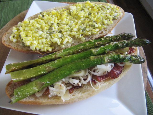 Roasted Asparagus Sandwich with Pickled Onion, Bacon and Hard-Cooked Egg Dressing