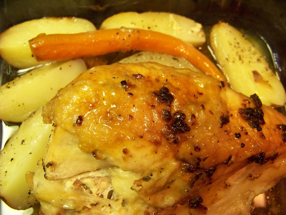 Split Breast of Chicken with roasted Carrots and Potatoes