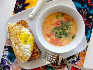 Tomato, Carrot, and Beet Soup with Pulp Bread Croque Madame