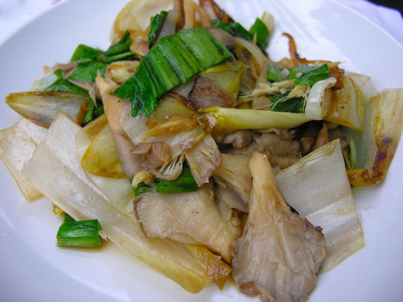 Warm endive, ramp, and oyster mushroom salad