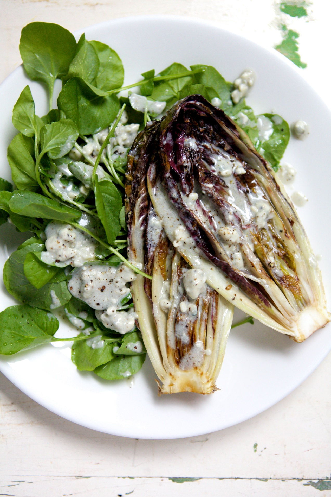 Grilled Treviso with Watercress & Creamy Blue Cheese