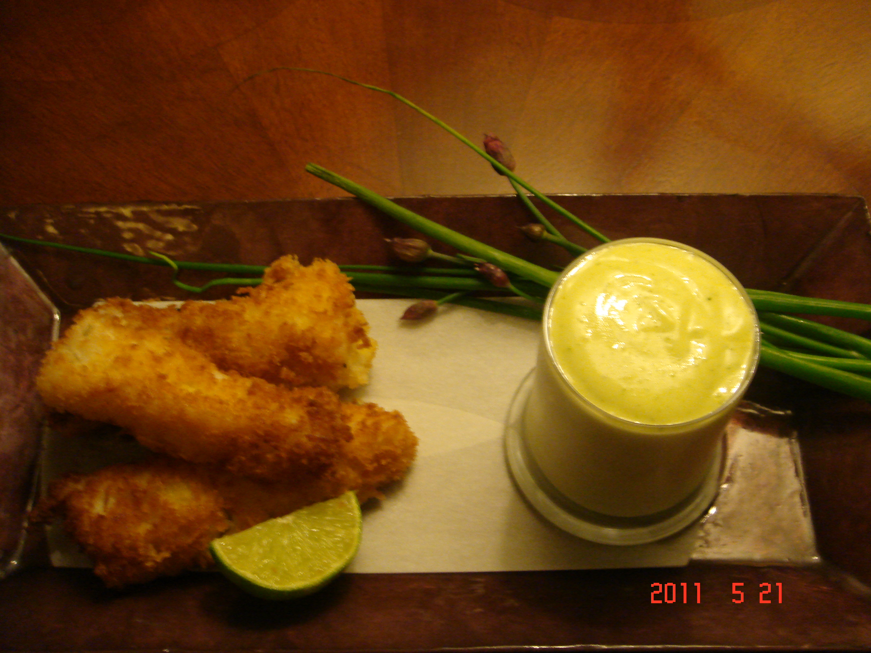 Lime and Tarragon Aioli with Panko-Crusted Fish Sticks