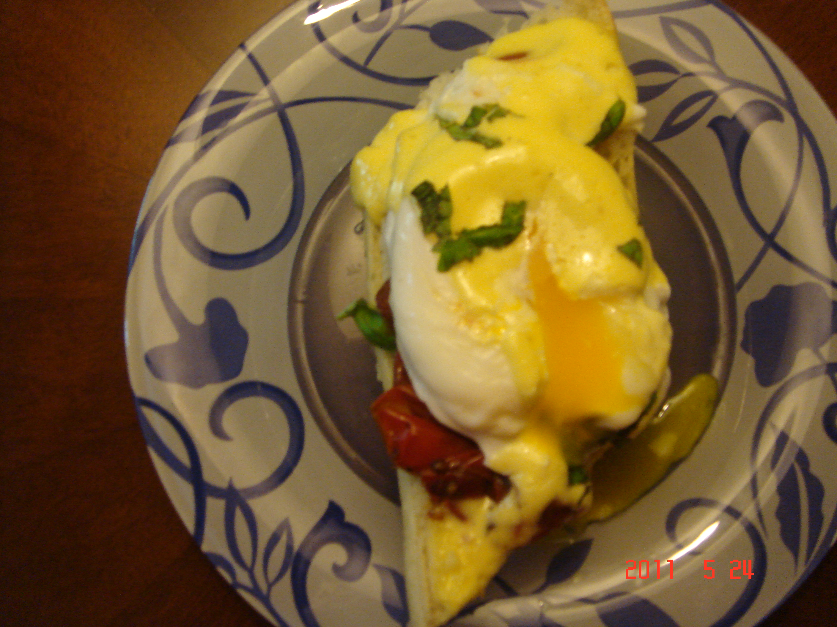 Poached Eggs with Tomato Balsamic Jam and aioli
