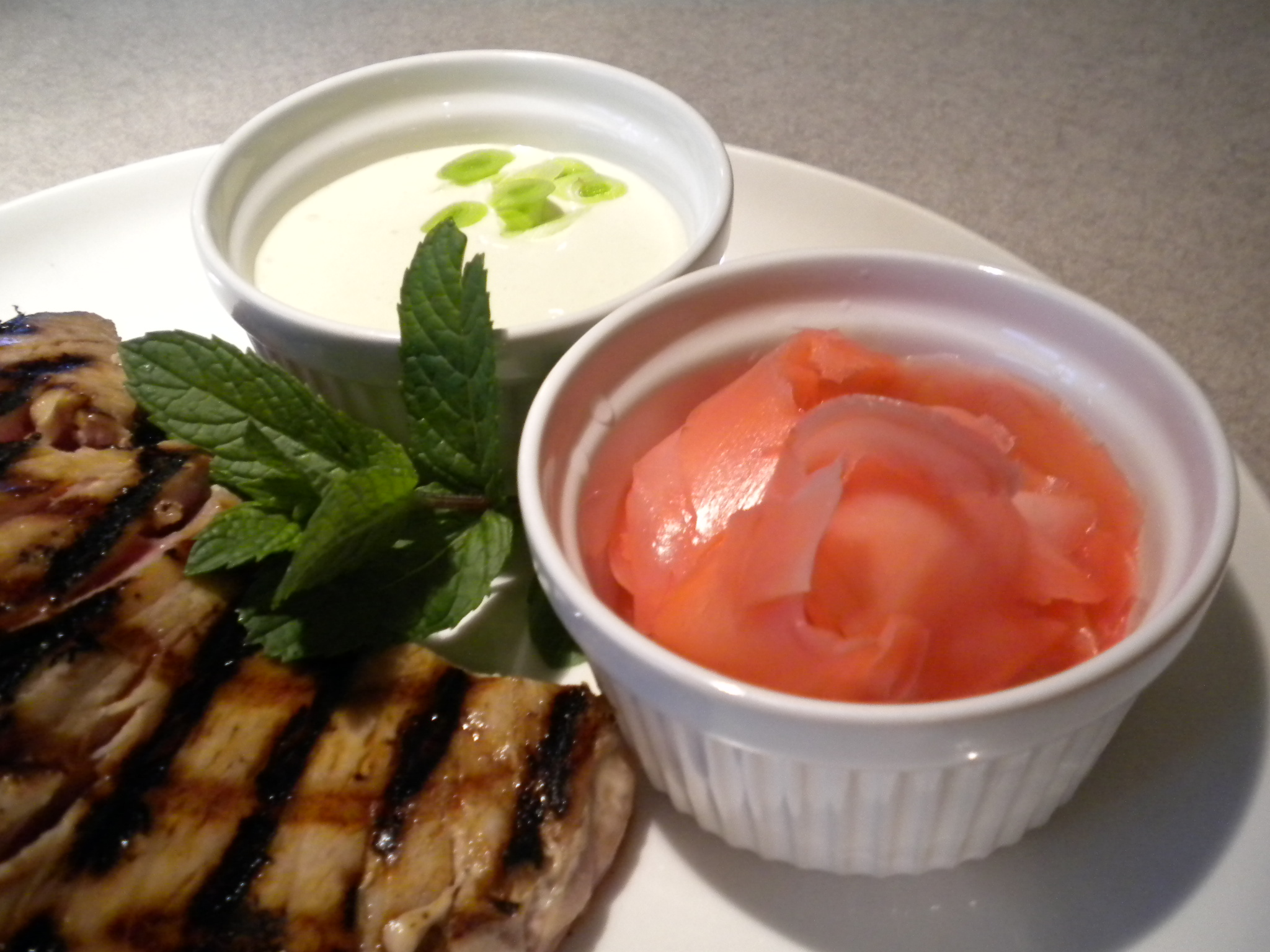 "Tuna, Pickled Ginger and Green Garlic Aioli with ""Wasabi"""