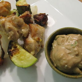 Tamarind Aioli with Spiced Coconut Chicken Kebabs