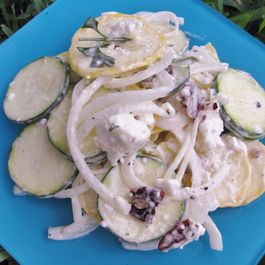 Summer Squash Salad with Mustard Mint Aioli