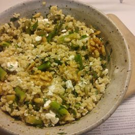 Bulgur Salad with Asparagus, Feta and Toasted Walnuts
