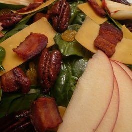 Spinach Salad with Apples, Cheddar and Honey Roasted Pecans