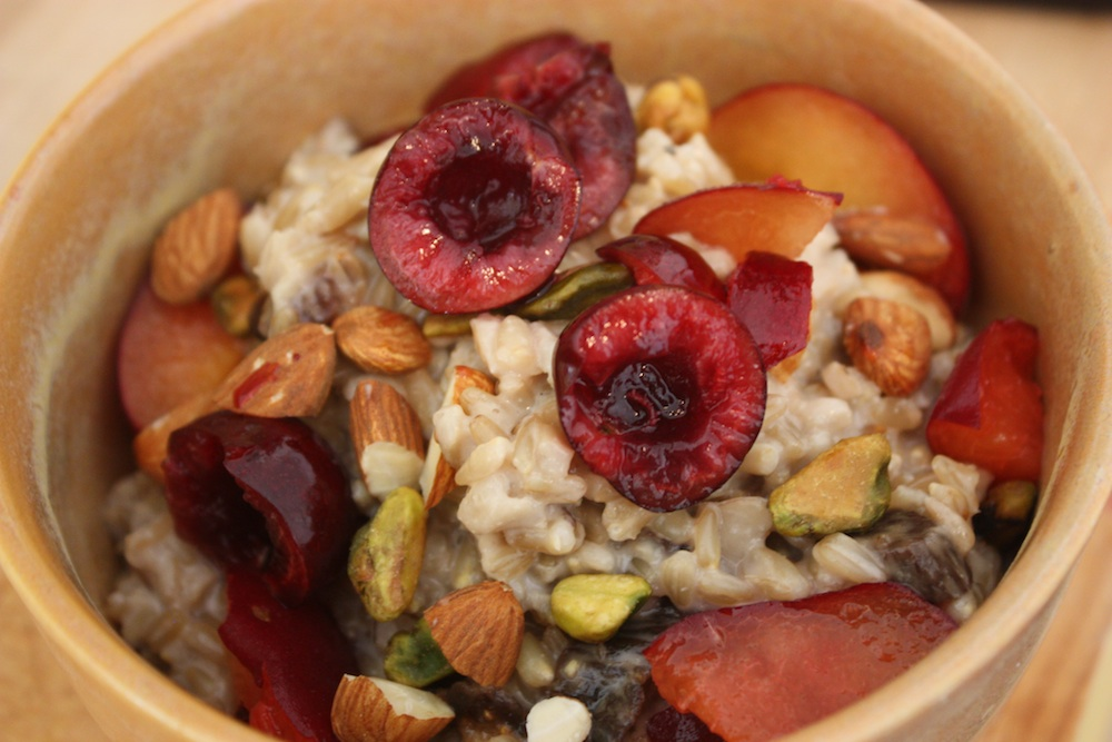Whole Oat Groats with Cherries, Plums, Pistachios & Homemade Almond Milk
