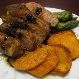 Peppered Sweet Potato Rounds with Marinated Tenderloin and Asparagus