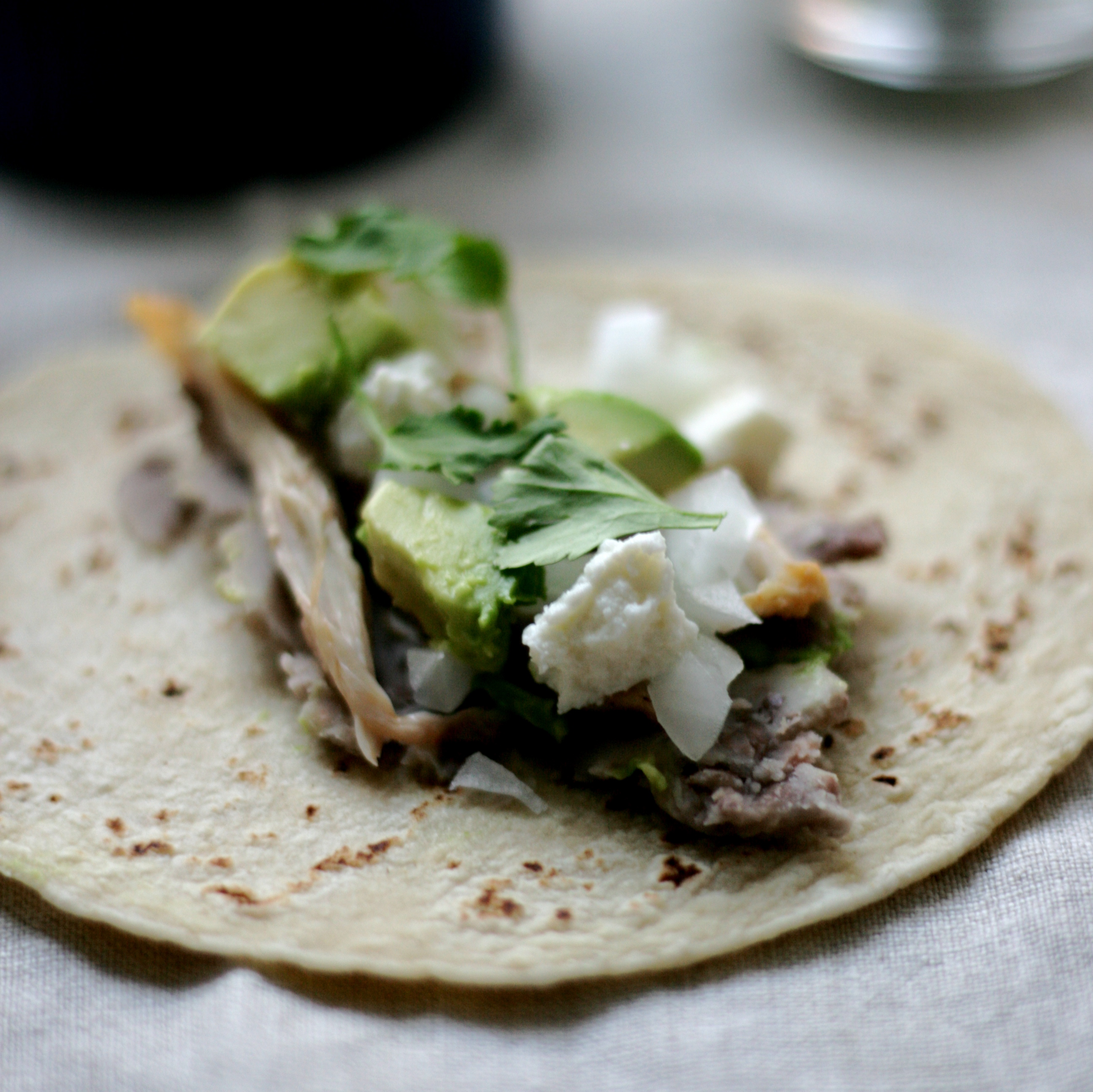 Chicken Tacos with Mashed Pinto Beans