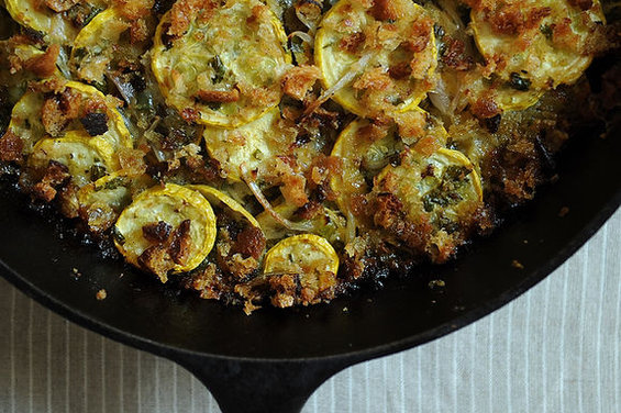 Summer Squash Gratin with Salsa Verde and Gruyere by amanda
